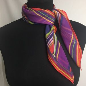 Ralph Lauren square silk striped scarf
